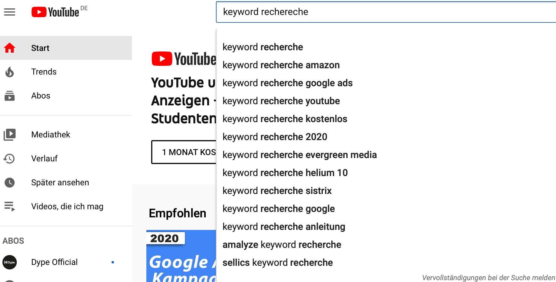 Keyword Recherche Youtube