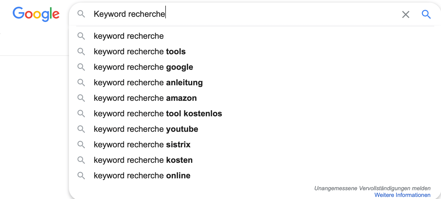 Keyword Recherche Google